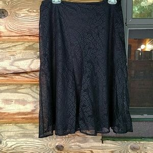 Gorgeous black skirt, patterned, lacy overlay.